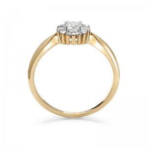 Pierścionek zaręczynowy złoty z brylantami 0,25 Ct + 0,12 Ct