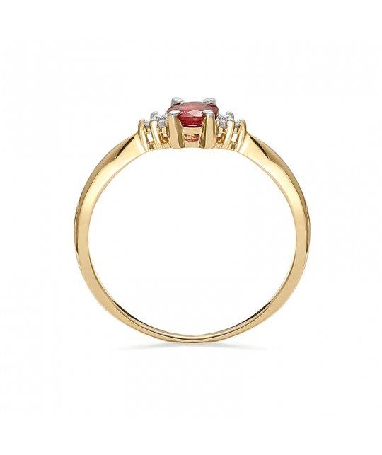 Pierścionek zaręczynowy złoty z rubinem 0,06 Ct
