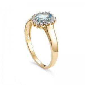 Pierścionek zaręczynowy złoty z topazem 0,23Ct