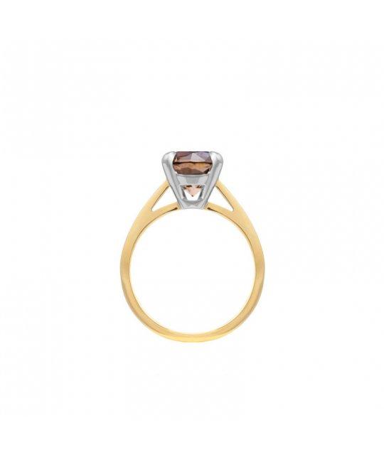 Złoty pierścionek z kwarcem dymnym