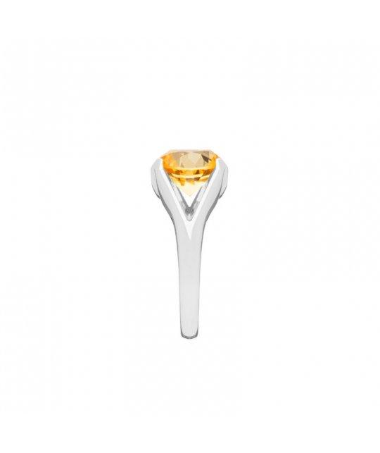 Pierścionek z białego złota z cytrynem