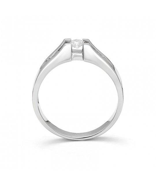 Pierścionek zaręczynowy z białego złota z brylantem 0,16 Ct