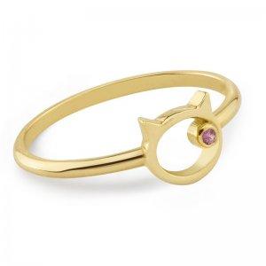 Pierścionek złoty z różowym szafirem