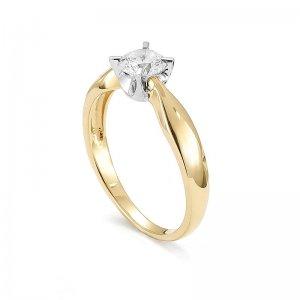 Pierścionek zaręczynowy złoty z brylantem 0,5 ct