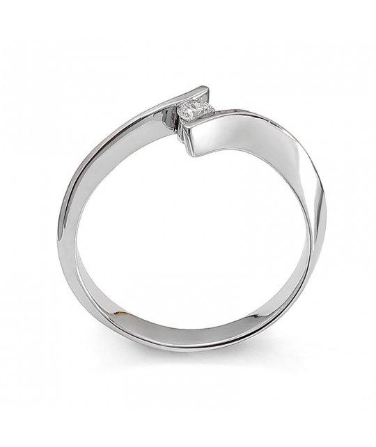 Pierścionek zaręczynowy z białego złota z brylantem 0,11 Ct