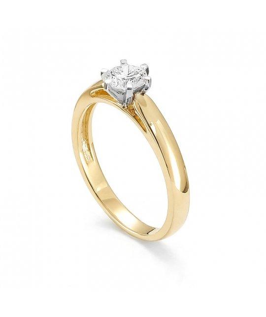 Pierścionek zaręczynowy złoty z brylantem 0.16 ct