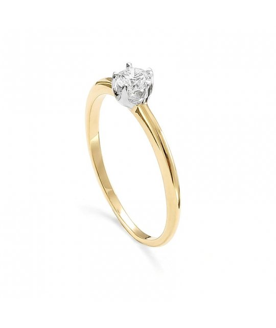 Pierścionek zaręczynowy złoty z brylantem 0,25 Ct