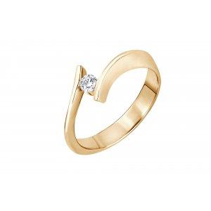 Pierścionek zaręczynowy złoty z brylantem 0,11 Ct