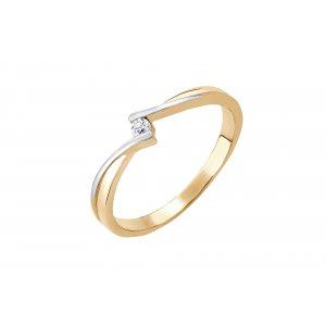 Pierścionek zaręczynowy złoty z brylantem 0,048 Ct