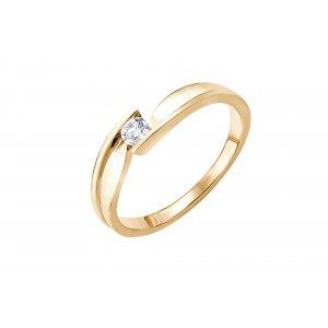 Pierścionek zaręczynowy złoty z brylantem 0,15 Ct