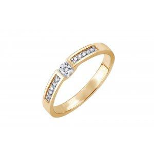 Pierścionek zaręczynowy złoty z brylantami 0,11 Ct + 0,10 Ct