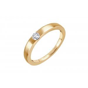 Pierścionek zaręczynowy złoty z brylantem 0,16 Ct