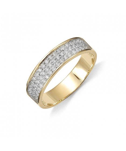 Pierścionek zaręczynowy złoty z brylantami wielokamieniowy 0,63 Ct